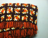 Vintage throw blanket- 70s Afghan -Blanket- Fall Colors- Granny Square Warm Autum Colors -