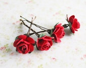 Red Roses Hair Pins. Paper Flowers. Whimsical,Valentine's Day accessories,  Weddings. Hair Accessories, spring, Winter Wedding, floral