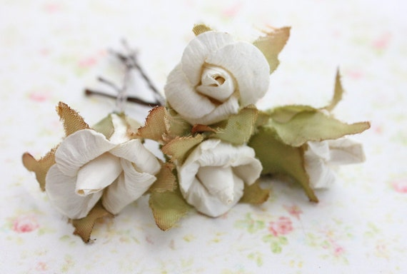 White Millinery Roses Paper Flower Hair Pins. Woodland. Rustic Hair Pins. Bridal. Wedding. Whimsical. Romantic. Fall. Autumn.