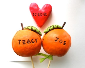 Fall Pumpkins wedding cake topper