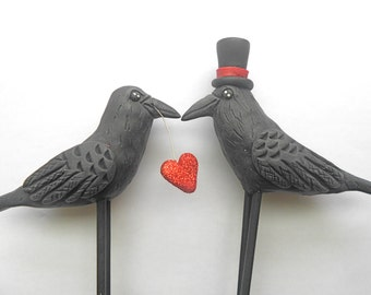 Black Birds Ravens Crows in Love Wedding Cake Topper with red glitter heart