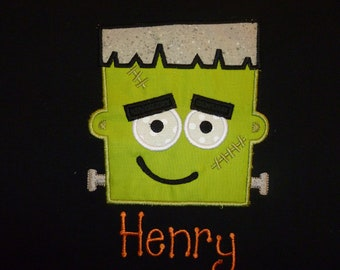 Personalized Boys Halloween one piece, or Halloween Shirt, frankenstien on a black shirt