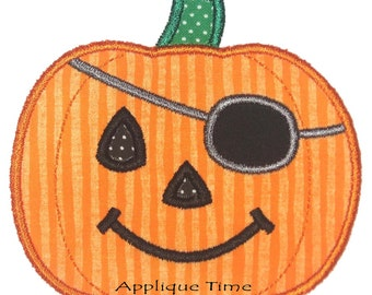 Instant Download Pirate Pumpkin Machine Embroidery Applique Design 4x4, 5x7 and 6x10