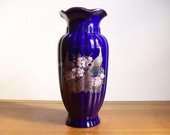 Cobalt Blue Peacock Vase, Chinoiserie Style, Hollywood Regency