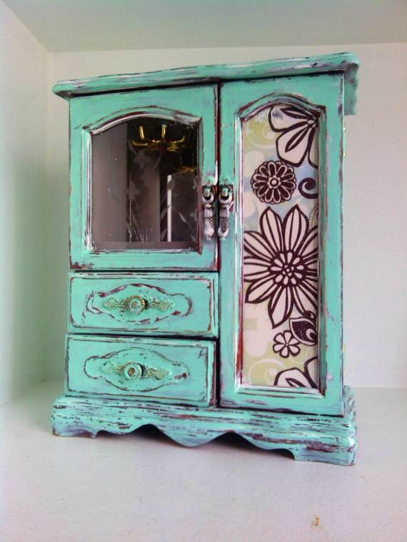 So Sweet- With this Upcycled Turquoise Jewelry Box