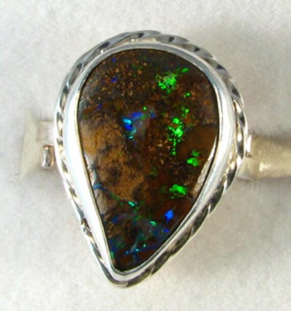Sterling Australian Boulder Opal Ring, OOAK, October birthstone, adjustable size ring
