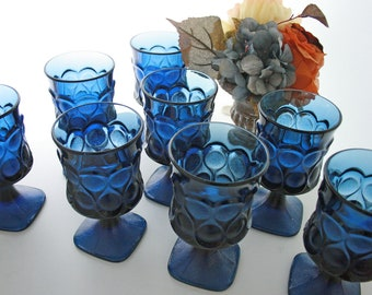 Vintage Noritake Blue Spotlight -Set of Eight Goblets