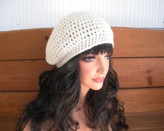 Slouchy Hat Womens Crochet Hat Winter Fashion Accessories Women Beanie Crochet Winter Hat in Ecru/Cream - Choose color