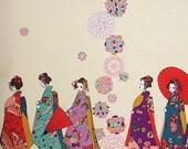 Japanese Fabric : Maiko Girls on a Walk - 1/4 Yard