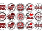 Eagles INSPIRED Red & Black Sports Team School Spirit Bottle Cap Images 4x6 Printable Bottlecap Collage INSTANT DOWNLOAD