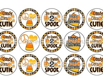 Candy Corn Cutie Halloween Bottle Cap Images 4x6 Printable Bottlecap Collage INSTANT DOWNLOAD