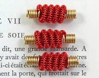 Coiled wire beads red and brass handmade beads jewellery making 3 pcs.