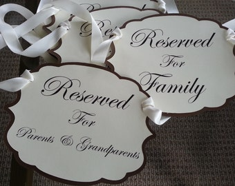Reserved Chair Signs in a set of 4