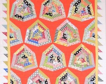 "Orange Retro Quilt, Wall Quilt, Lap Quilt, Modern Quilt, String Quilt, Scrap Quilt, 45"" x 57"", Diamond Dish, Quiltsy"
