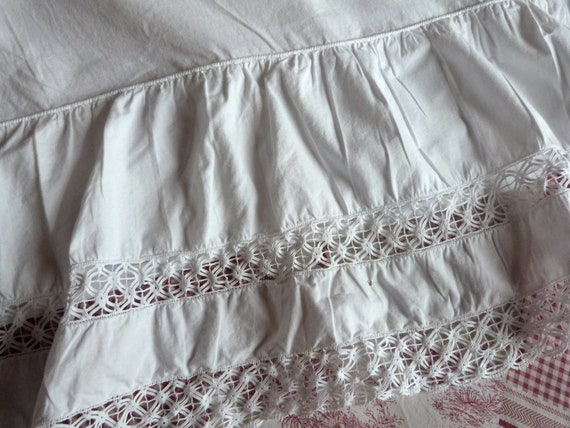 Antique French White Mattress Cover Ruffle Bed Skirt W Lace