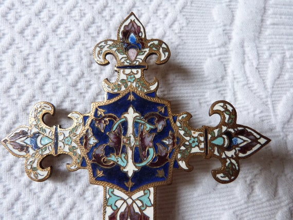Antique French Enamel Cloisonne Cross Crucifix Wall Hanging