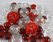 Scarlet Sparkle Holiday Collection of Gems,  Mosaic Tiles/Glass/Cabochons 65 Pieces