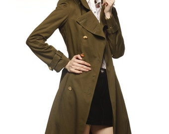 Army Green Big Lapel trench Coat Double Breasted Military Trench Coat - NC478