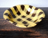 "Santa Anita Ware Serving Bowl, Yellow Checkered ""Turnabout"" California Pottery, Vintage Decor Serving"