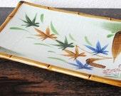 Mid Century Sushi Tray, Large Japanese Bamboo Trim Asian Flowers Decor Serving