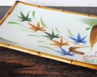 Mid Century Sushi Tray, Large Japanese Bamboo Trim Asian Flowers Decor Serving