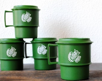 Vintage Tupperware Christmas Cup Set, Green Peace Dove Storage & Serving Mug Cups with Lids