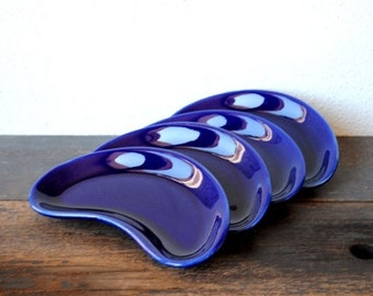 Mid Century Sushi Plates, Shiny Cobalt Blue Retro Curved Dishes, Vintage Dinnerware Set, Four (4)