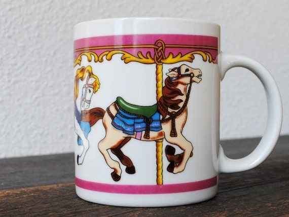 Vintage Horse Carousel Mug Cup, Pencil Holder, Merry Go Round, Pastel Pink Blue & Yellow