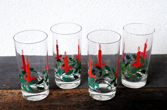 Items similar to vintage christmas drink glasses red