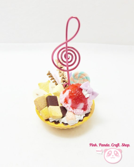 Musical note polymer clay sweet lover tart card / note holder