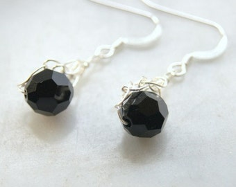 Black Jet Crystal Ball Earrings Silver Knitted Wire Swarovski Crystal Earrings