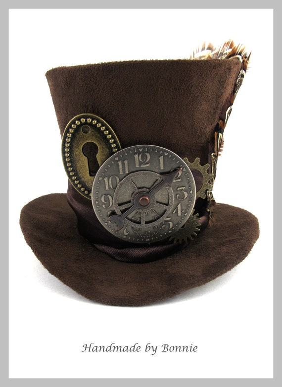 Steampunk Mini Top Hat -  Brown Suede Clock, Gears, Keyhole