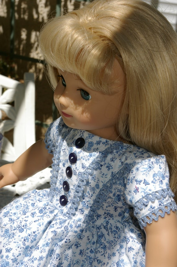 """Blue and white dress for American Girl 18"""" doll Marie Grace and Cecile"""