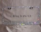 Custom Genuine Swarovski Crystal License Plate Frame with six rows