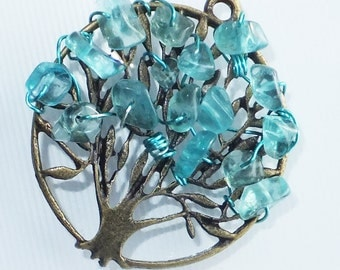 Tree of Life Pendant Antiqued Brass and Turquoise Apatite