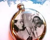 Vintage Magazine Pin Up Girl Chef Flask, Round 5 oz