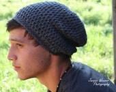 Crochet Men Slouch Beanie- Grey- Gray- fall - back to school