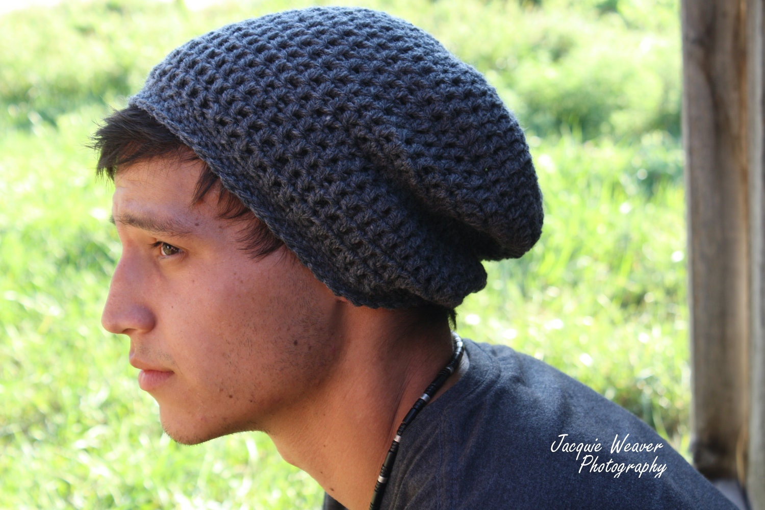 Crochet Men Slouch Beanie Grey Gray fall back to by SoLayna