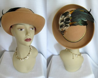 Vintage 1960s Hat - Kurt Jr by Tom Hann Brown Wool Hat with Feathers