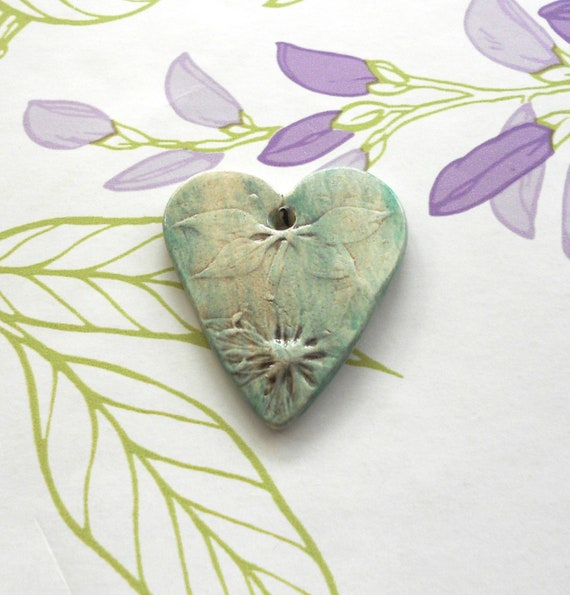 Handmade Ceramic Heart with Dragonfly and Love in the Mist
