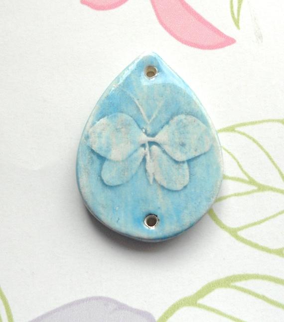 Handmade Ceramic  Butterfly Teardrop  Blue Connector /  Pendant