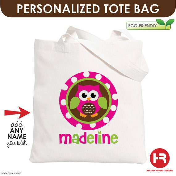 Girl Owl Tote Bag - Personalized Tote Bag - Owl Treat Bag