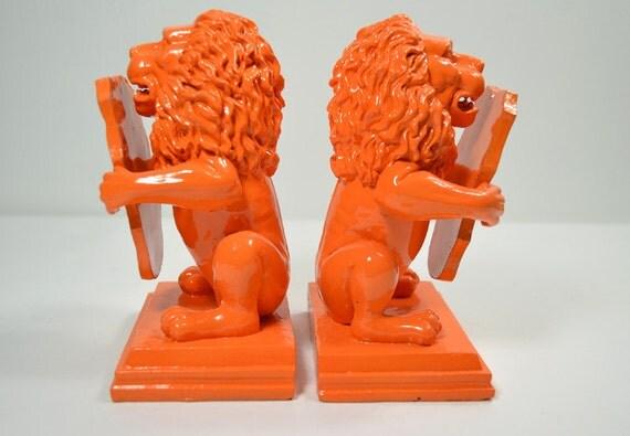 Vintage Orange Lion Bookends