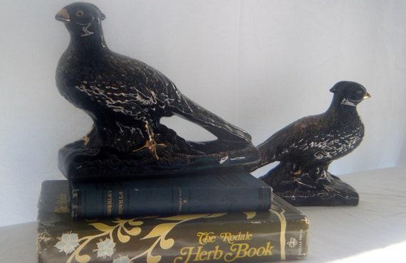 Redware Japan Pair of Pheasants Black and Gold