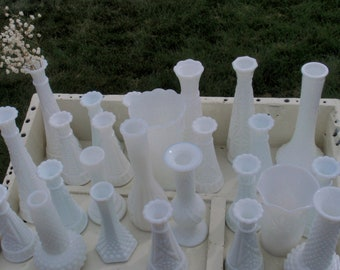 CLEARANCE- 15 MILK GLASS vases for 50 Dollars