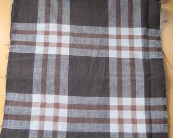 Vintage handwoven Japanese indigo dyed plaid cotton fabric