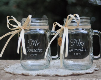 Mr and Mrs Mason Jar Mugs with engraved wood charms.  21 Font choices. Handle direction choices