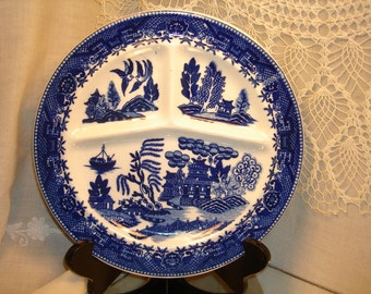 MORIYAMA FLOW BLUE, Blue Willow, Divided Grill, Chop Plate, Made in Occupied Japan, vintage pottery,  collectible flow blue