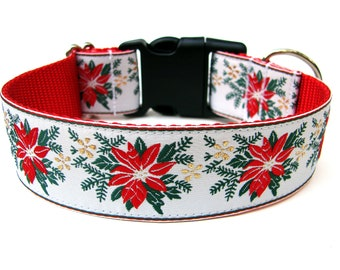"Christmas Dog Collar 1.5"" Poinsettia Red Dog Collar"