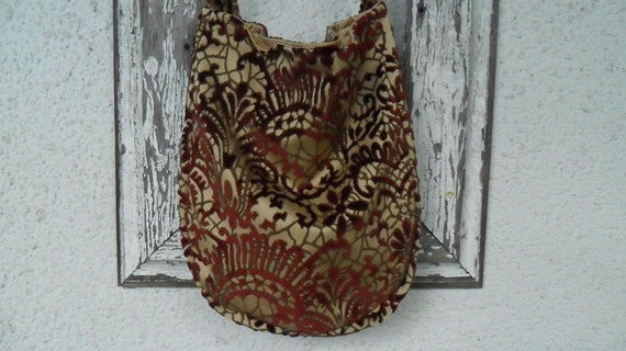 Bohemian Victorian Bag Purse Gypsy Burgundy Cut Velvet Hobo Slouchy